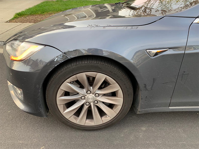 I hit a pole with my Tesla Model S  Here's how much it cost