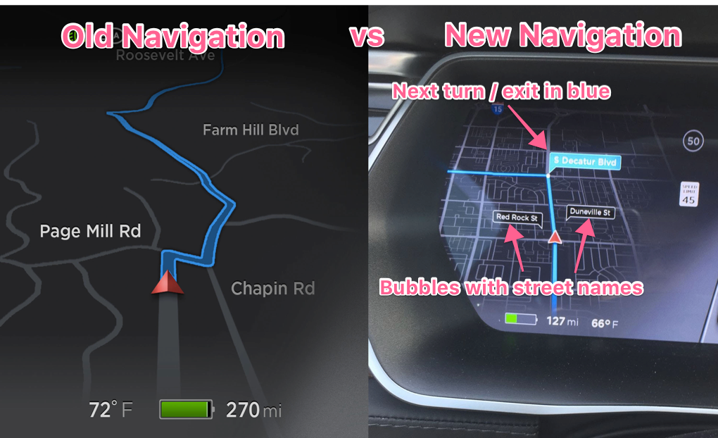Tesla new maps, bubbles